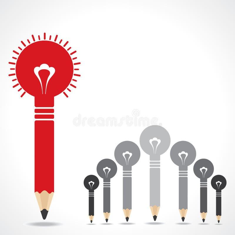 Concepto creativo de la idea con los bulbos del lápiz libre illustration