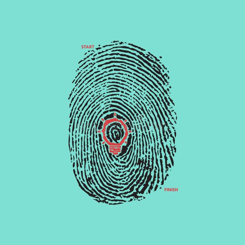 Concepto creativo de la idea de la bombilla con símbolo de la huella dactilar Educat libre illustration