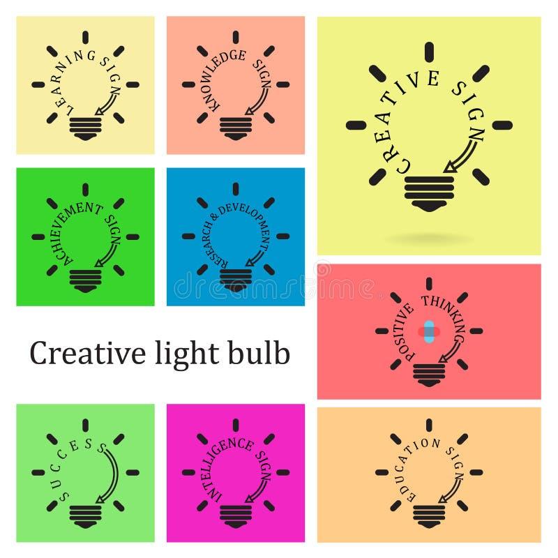 Concepto creativo de la idea de la bombilla, idea del negocio, ed stock de ilustración