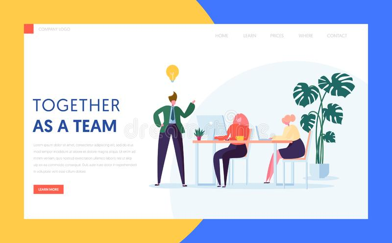 Concepto creativo de la idea del trabajo en equipo para la página de aterrizaje Intercambio de ideas del carácter de la agencia p libre illustration