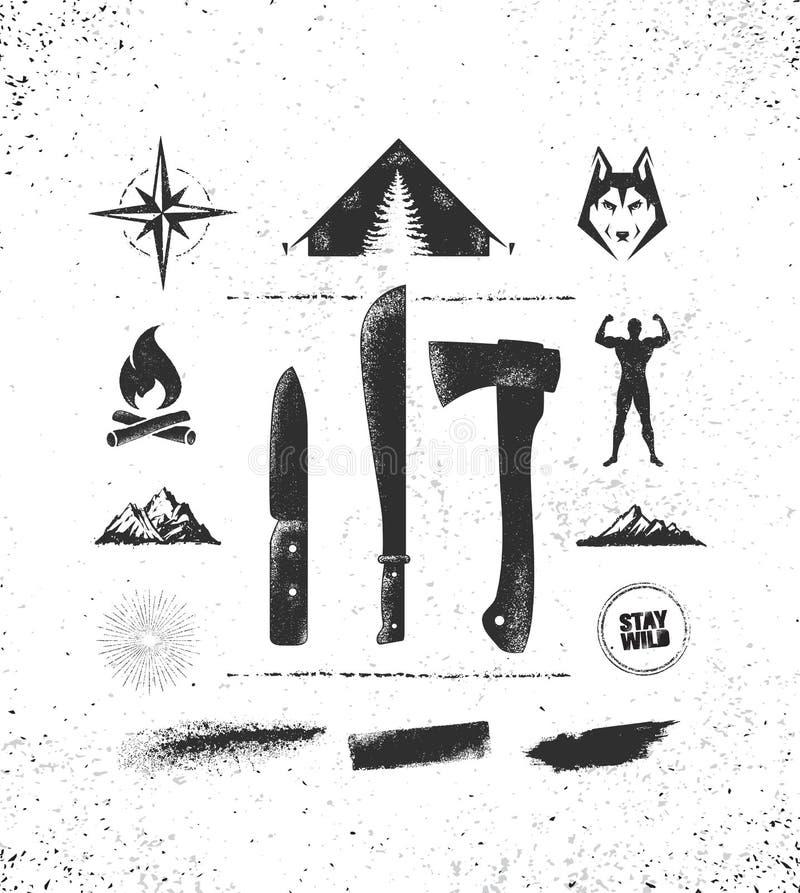 Concepto creativo de la motivación del alza del engranaje de la supervivencia de la montaña de la aventura Vector al aire libre e libre illustration