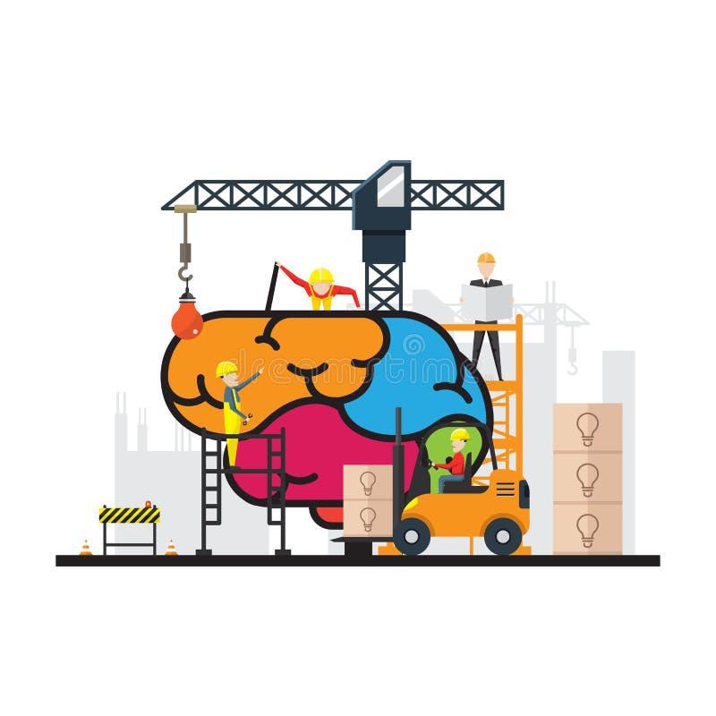 Concepto creativo del cerebro de la construcción, vector infographic de la educación stock de ilustración