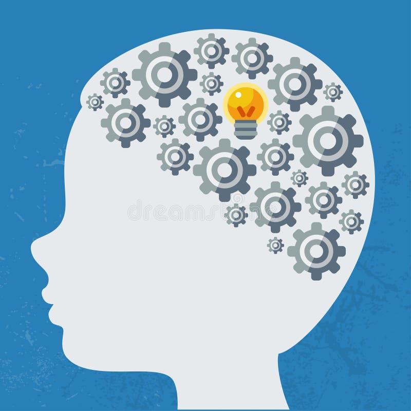 Concepto creativo del cerebro humano, vector stock de ilustración