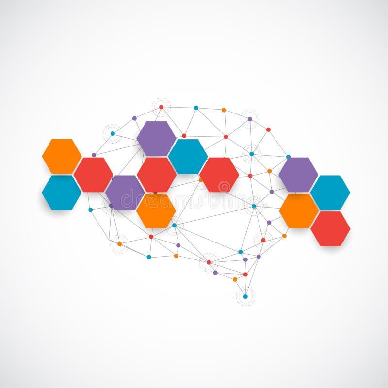 Concepto creativo del color del cerebro humano libre illustration