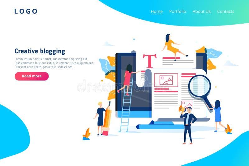 Concepto creativo del ejemplo que bloguea, grupo de personas que aprende sobre bloguear creativo y copywriting libre illustration