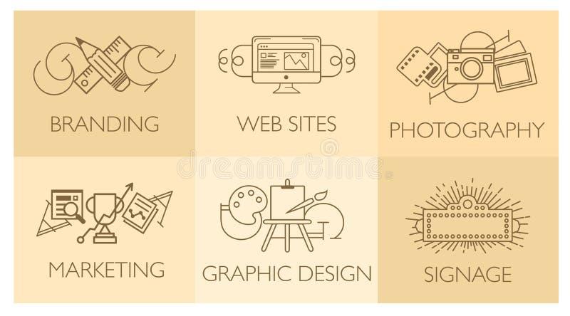 Concepto creativo del proceso de diseño con los elementos del desarrollo del estudio de la web Línea plana ejemplo moderno del ve stock de ilustración