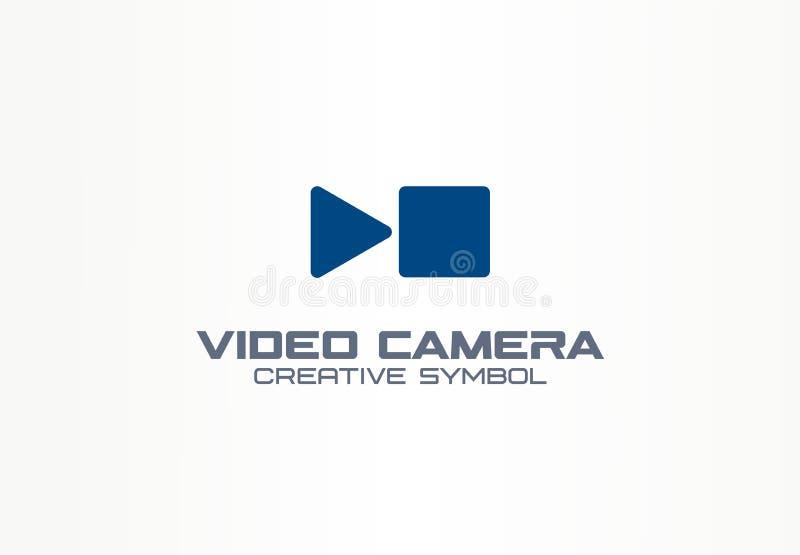 Concepto creativo del símbolo de la cámara de vídeo de Digitaces Juegue, pare, deténgase brevemente logotipo del negocio del extr ilustración del vector
