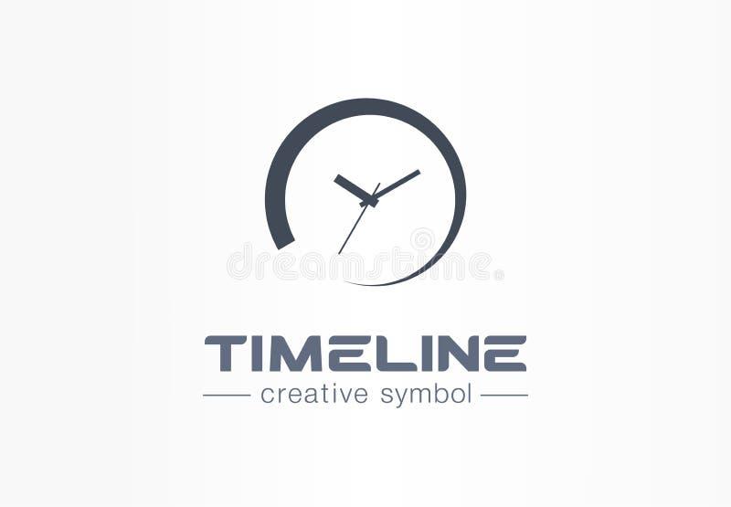 Concepto creativo del símbolo de la cronología Comienzo del tiempo, contador de tiempo del plazo, logotipo pendiente del negocio  libre illustration