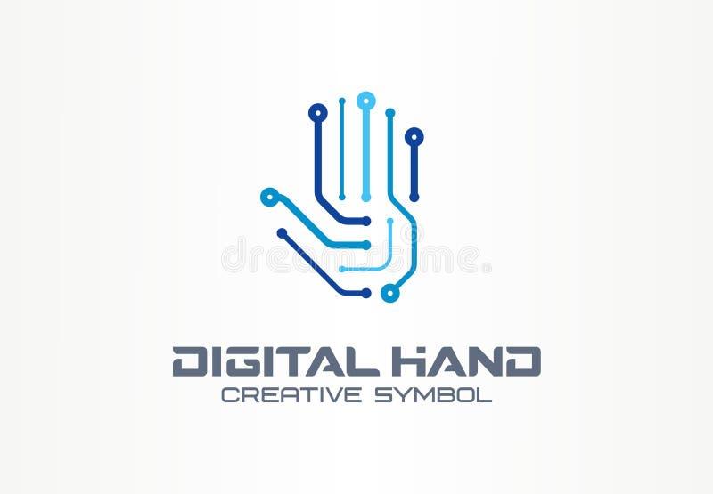 Concepto creativo del símbolo de la mano de Digitaces Brazo del robot, tecnología futurista, logotipo abstracto del negocio de la stock de ilustración