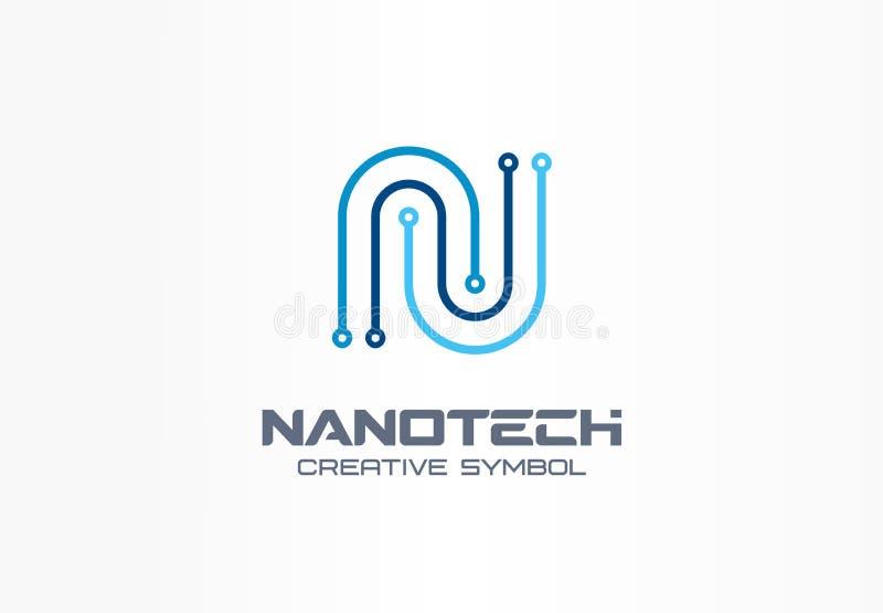 Concepto creativo del símbolo de la nanotecnología Letra futurista n, programm, logotipo del negocio del extracto del microproces libre illustration
