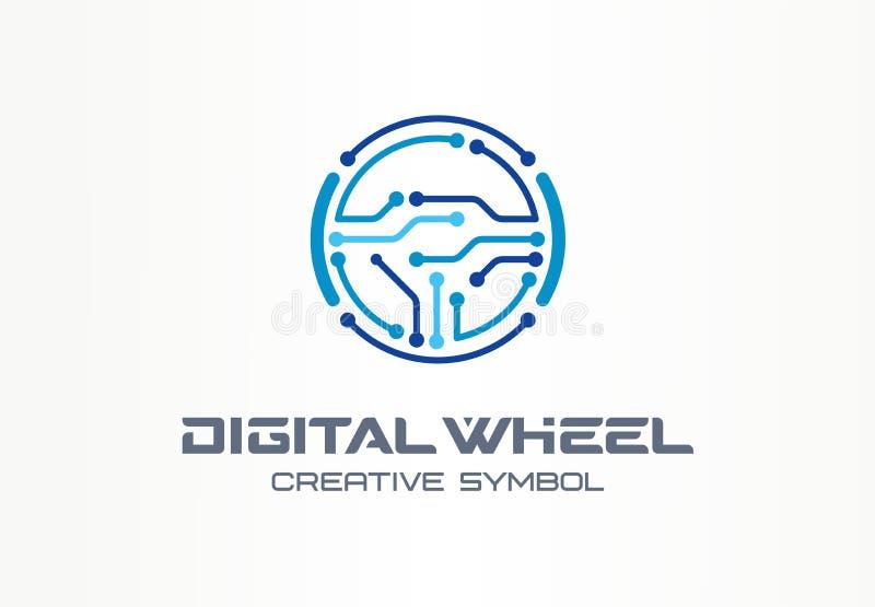 Concepto creativo del símbolo de la rueda del buey de Digitaces Coche eléctrico, logotipo del negocio del extracto del vehículo a ilustración del vector