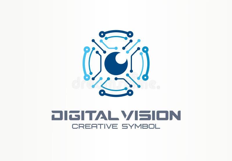 Concepto creativo del símbolo de la visión de Digitaces Ojo del robot del circuito, logotipo del negocio del extracto del sistema stock de ilustración
