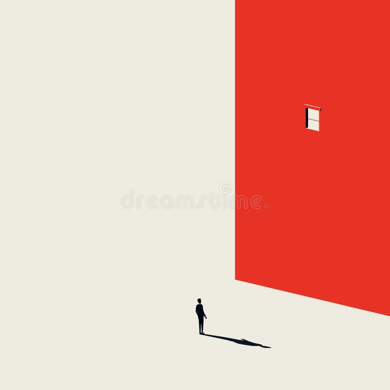 Concepto creativo del vector del hallazgo de la solución del negocio con el hombre de negocios que mira la ventana en pared Estil stock de ilustración