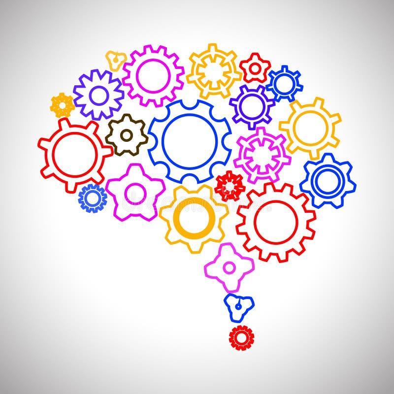 Concepto creativo el cerebro humano del engranaje - vector el ejemplo libre illustration