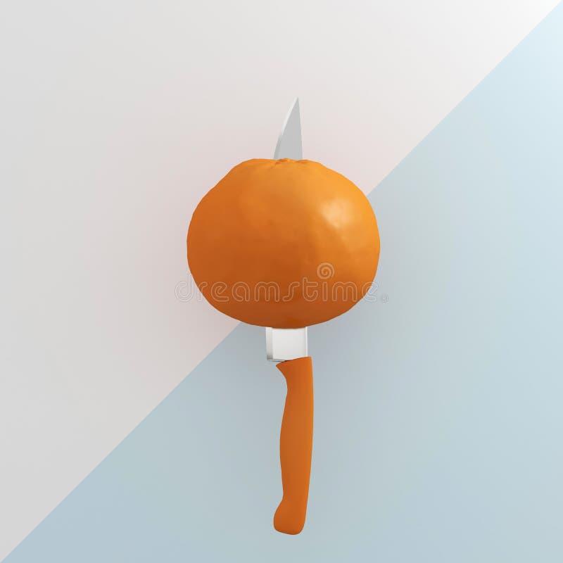 Concepto creativo: Fruta anaranjada empalada en la cocina inoxidable kni foto de archivo libre de regalías