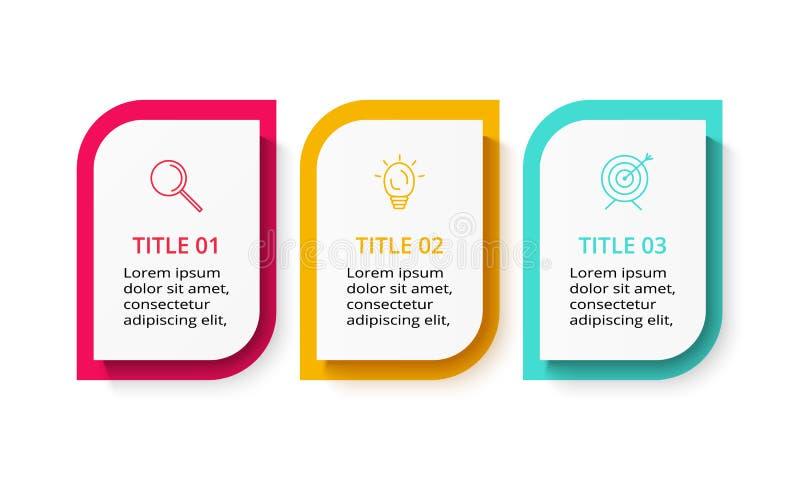 Concepto creativo para infographic con 3 pasos, opciones, porciones o procesos Plantilla del negocio del vector para la presentac ilustración del vector
