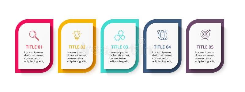 Concepto creativo para infographic con 5 pasos, opciones, porciones o procesos Plantilla del negocio del vector para la presentac libre illustration