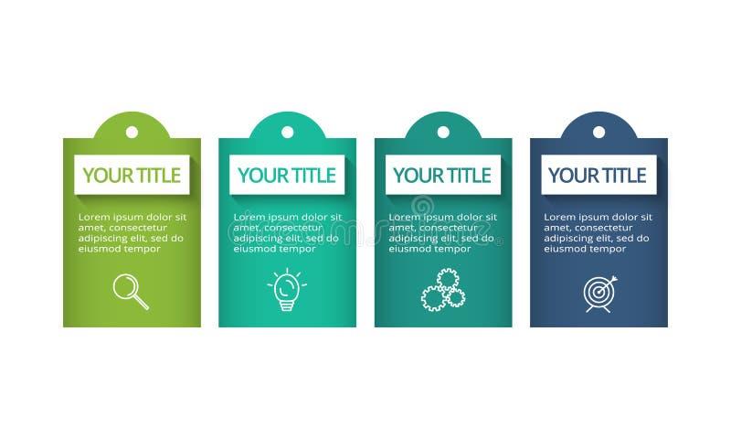 Concepto creativo para infographic con 4 pasos, opciones, porciones o procesos Visualizaci?n de los datos de negocio ilustración del vector