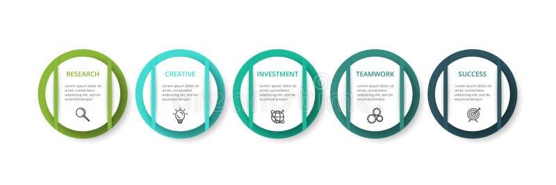 Concepto creativo para infographic con 5 pasos, opciones, porciones o procesos Visualizaci?n de los datos de negocio libre illustration