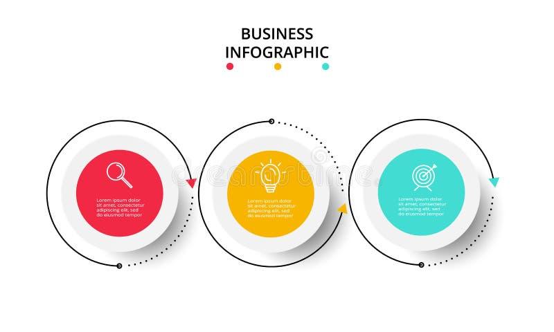 Concepto creativo para infographic con 3 pasos, opciones, porciones o procesos Visualizaci?n de los datos de negocio stock de ilustración