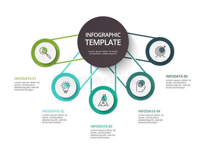 Concepto creativo para infographic con 5 pasos, opciones, porciones o procesos Visualizaci?n de los datos de negocio stock de ilustración