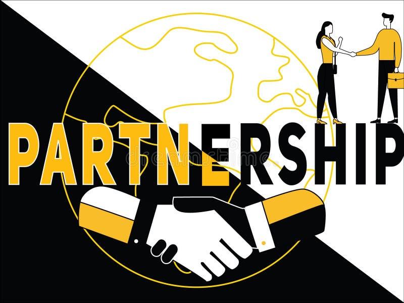 Concepto creativo Partenership de la palabra y actividad de la gente ilustración del vector