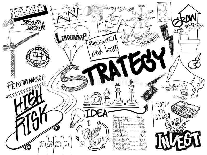 Concepto creativo a pulso del bosquejo del garabato de la estrategia stock de ilustración