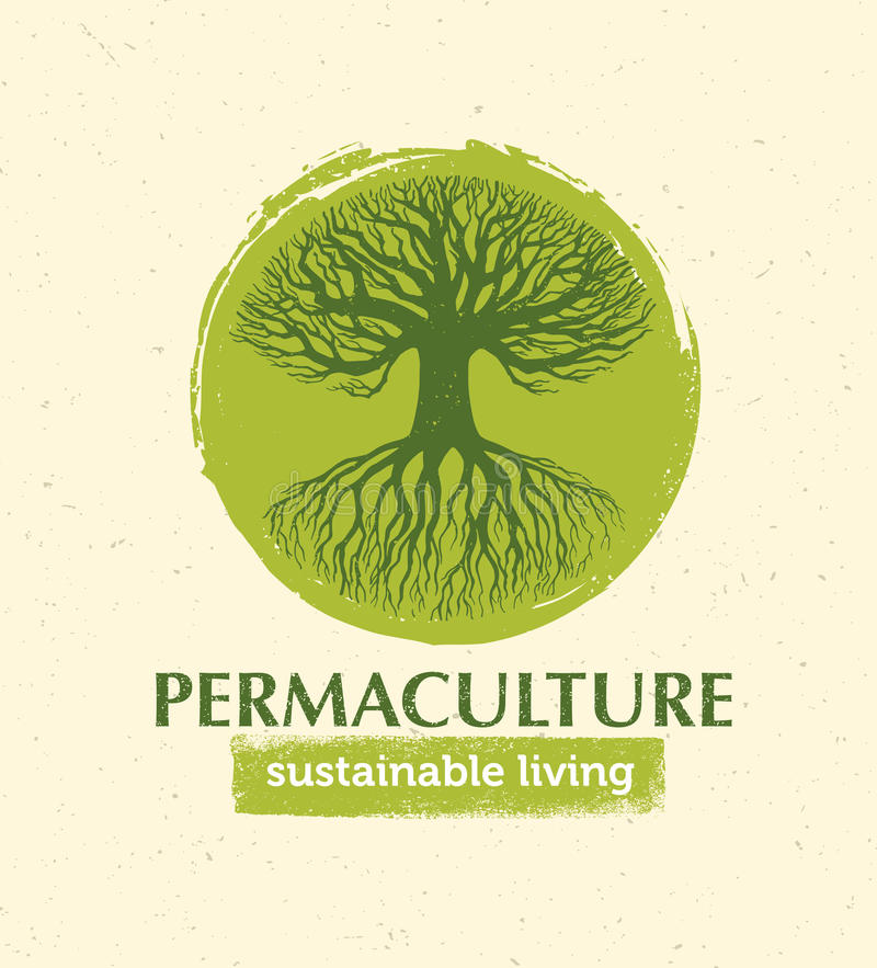 Concepto creativo vivo sostenible del elemento del diseño del vector de Permaculture Árbol viejo con las raíces dentro del círcul stock de ilustración