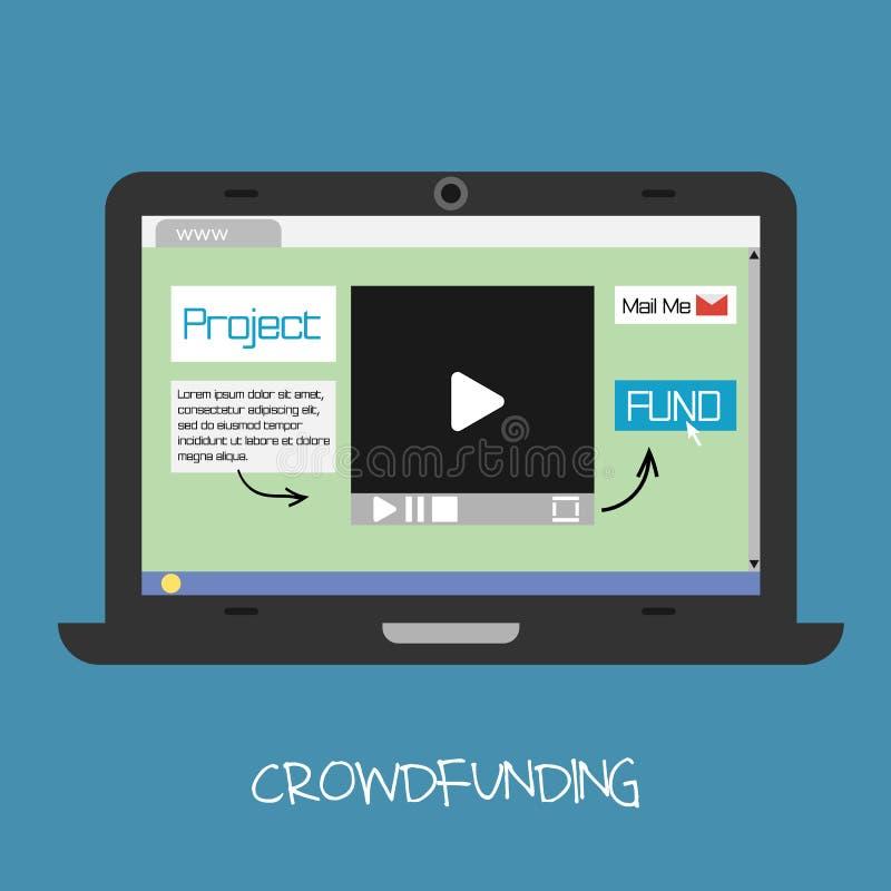 Concepto crowdfunding del vector Fondo en línea stock de ilustración