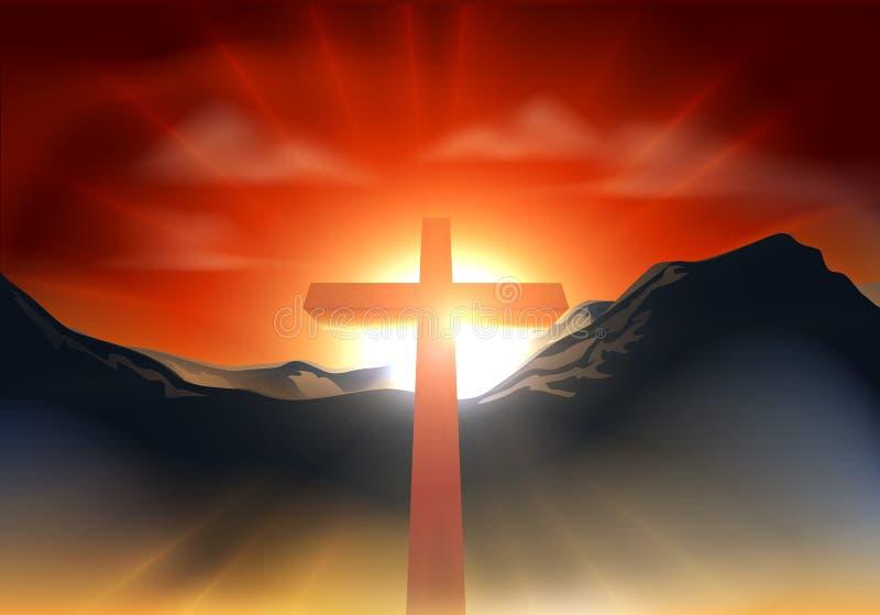 Concepto cruzado cristiano de Pascua ilustración del vector