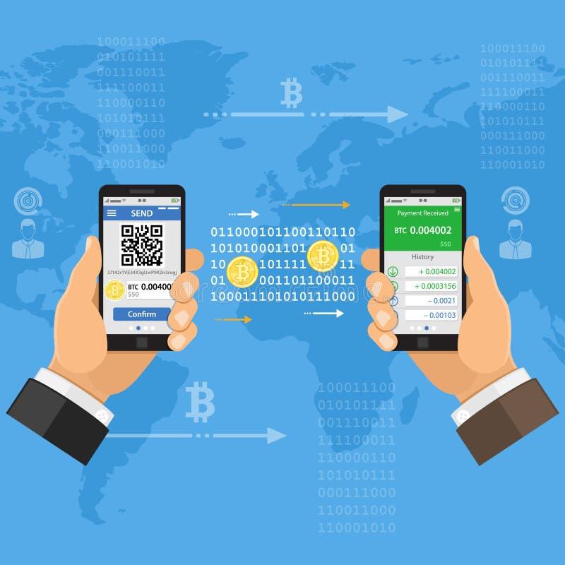 Concepto Crypto de la tecnología del bitcoin de la moneda libre illustration