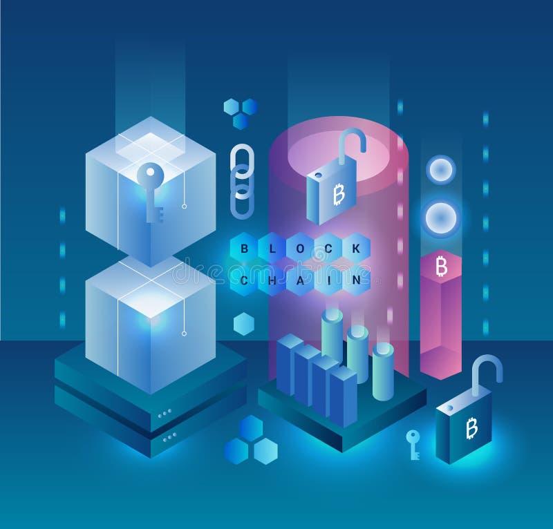 Concepto cryptocurrency y del vector abstractos de Blockchain Granja de la explotación minera Bitcoin, ethereum y monero Dinero d libre illustration