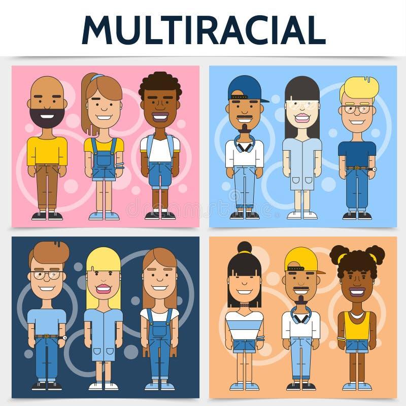 Concepto cuadrado de las familias multirraciales planas stock de ilustración