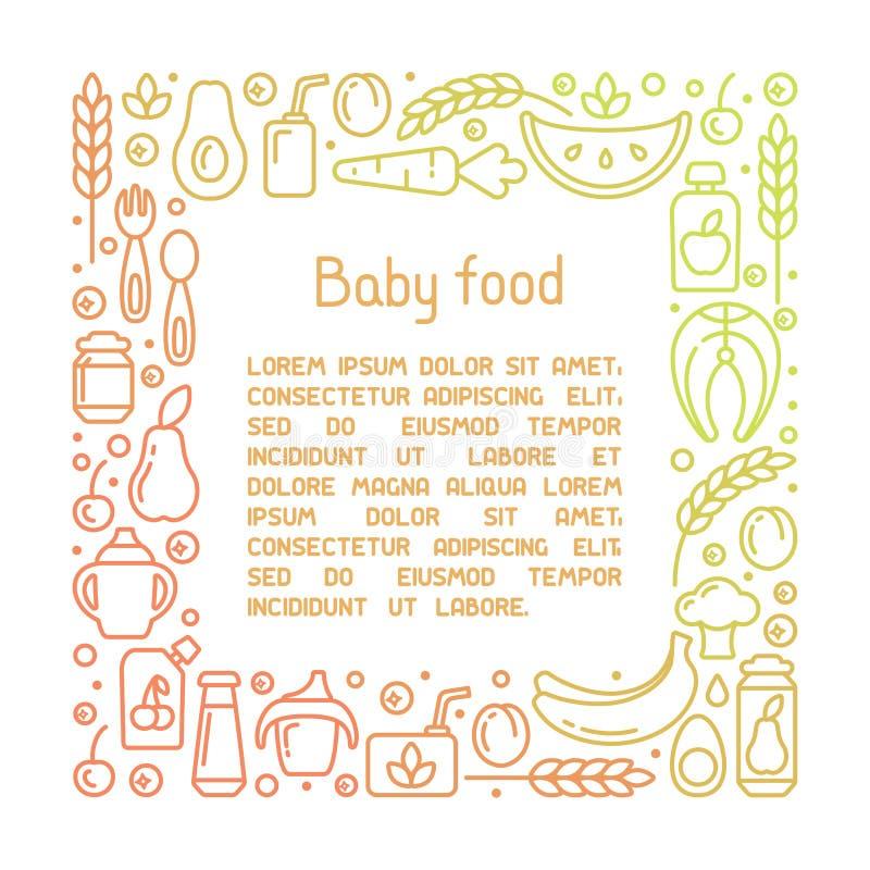 Concepto cuadrado del marco con los elementos de los alimentos para niños y el texto de la muestra stock de ilustración