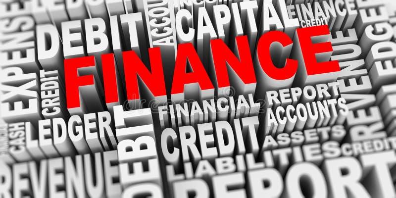 concepto 3d de etiquetas de la palabra de las finanzas stock de ilustración
