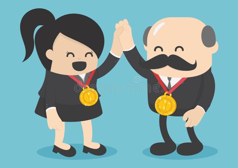 Concepto de éxito El negocio femenino acertado tiene el medallista de oro stock de ilustración