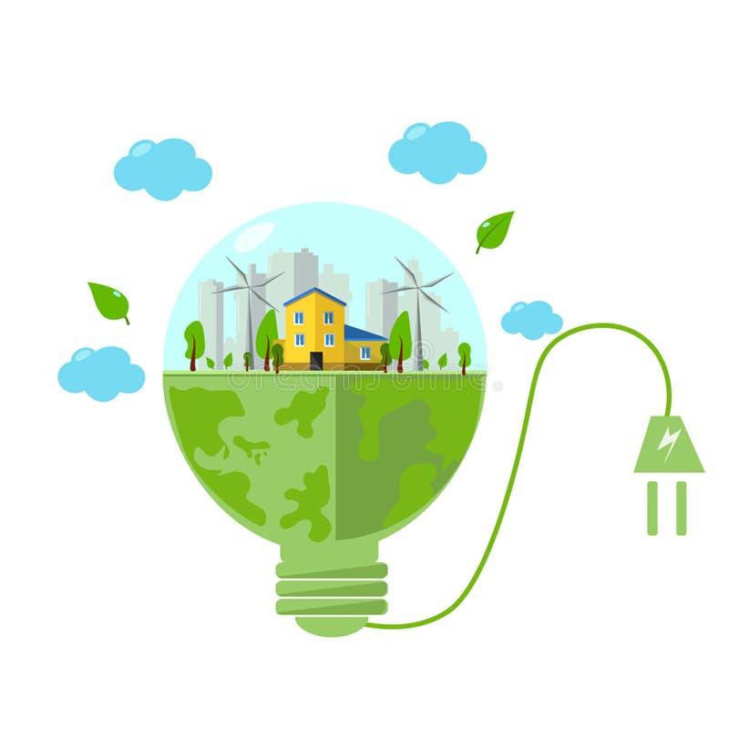 concepto de ahorrar la energ?a verde para las bombillas , ejemplos ilustración del vector