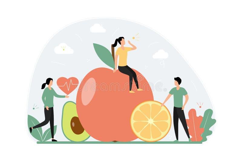 Concepto de alimentación saludable Los jóvenes diminutos están a dieta Verduras y frutas, vegetarianas libre illustration