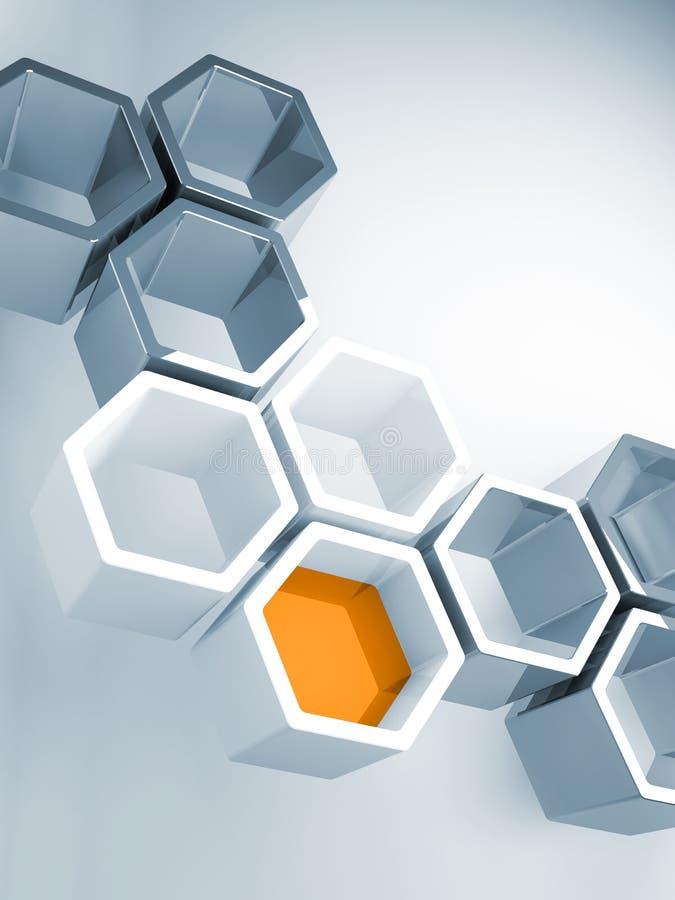 Concepto de alta tecnología con la estructura de panal stock de ilustración