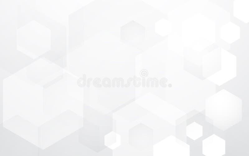 Concepto de alta tecnología digital de los hexágonos de la tecnología abstracta en fondo blanco y negro ilustración del vector