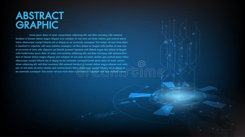 Concepto de alta tecnología de la comunicación del fondo abstracto de la tecnología, tecnología, negocio digital, innovación, esc stock de ilustración