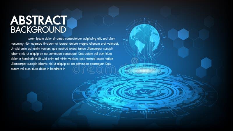 Concepto de alta tecnología de la comunicación del fondo abstracto de la tecnología, tecnología, negocio digital, innovación, esc ilustración del vector
