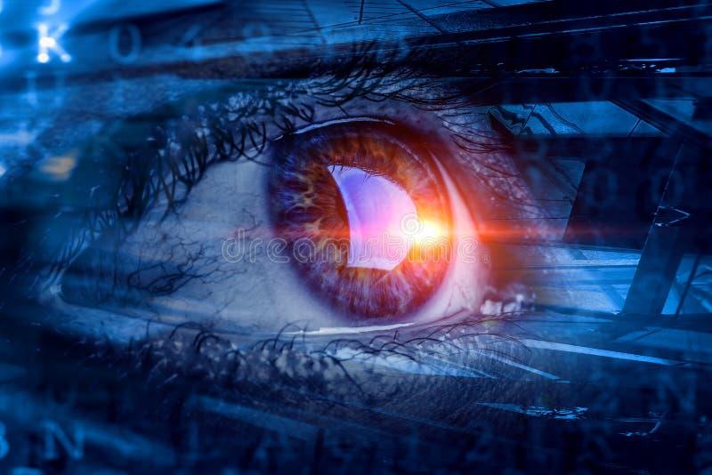 Concepto de alta tecnolog?a abstracto del ojo imagenes de archivo
