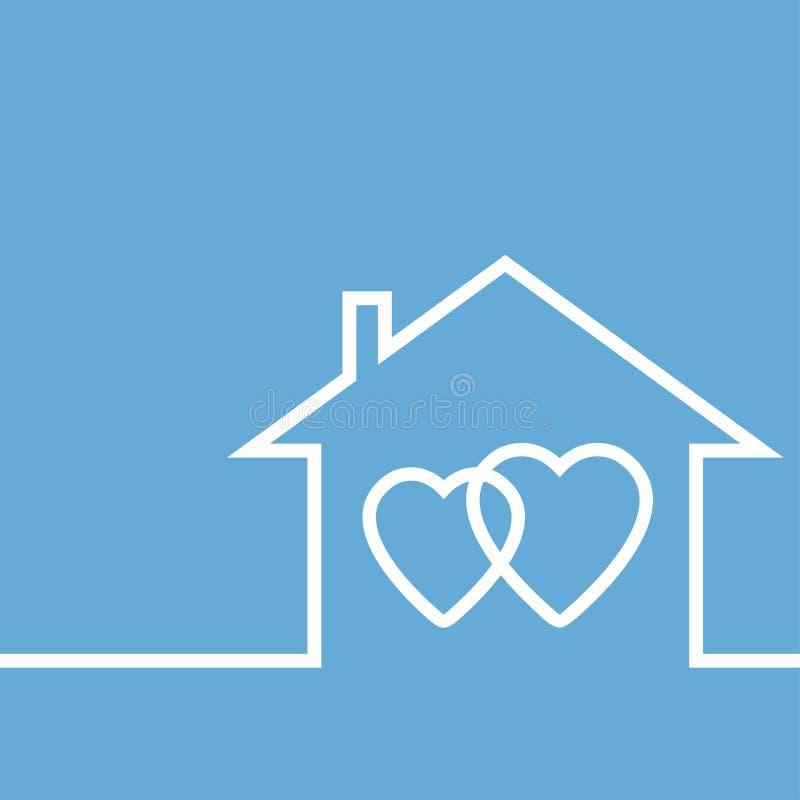 Concepto de amantes y de su propio hogar stock de ilustración