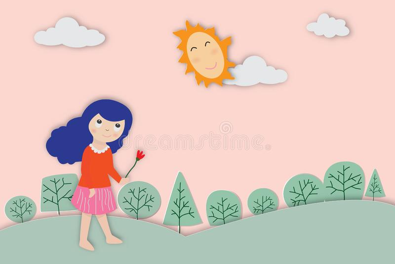 Concepto de ambiente con un ejemplo lindo del vector de la muchacha stock de ilustración