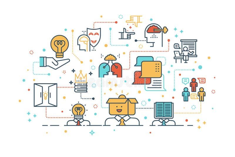 Concepto de aprendizaje y de pensamiento creativo stock de ilustración