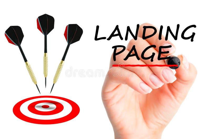 Concepto de aterrizaje de la página con flechas y una blanco foto de archivo