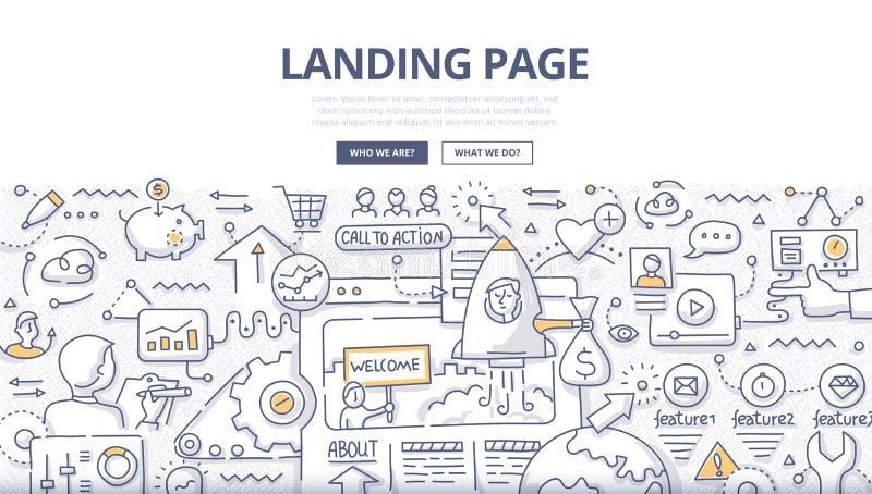 Concepto de aterrizaje del garabato de la página libre illustration