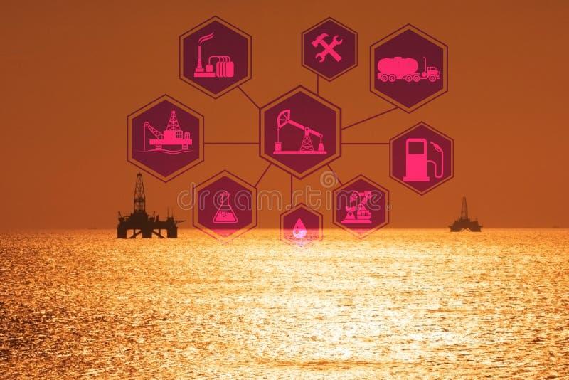Concepto de automatización en industria del petróleo y gas foto de archivo