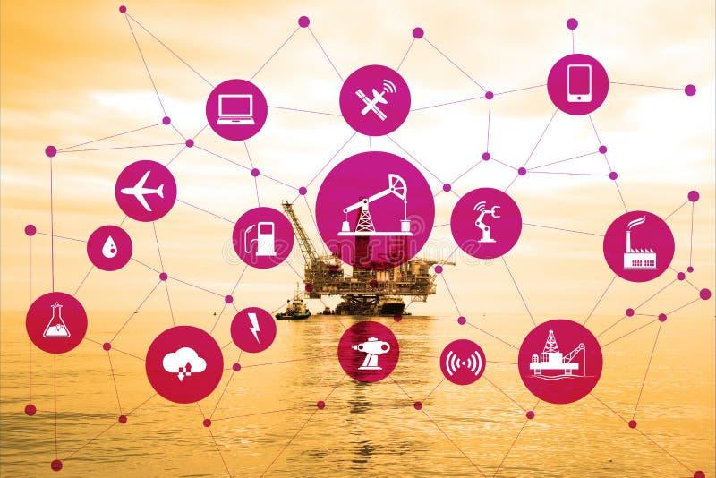 Concepto de automatización en industria del petróleo y gas imagen de archivo libre de regalías